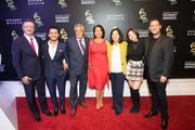 President Latin Academy of Recording Arts & Sciences Gabriel Abaroa, Christian Nodal, Deputy Los Angeles Council Albert Lord, Giselle Fernandez, First District Supervisor Hilda Solis, Angela Aguilar and President of The GRAMMY Museum Michael Sticka attend Latin Floor Ribbon Cutting + Program at the GRAMMY Musuem on November 18, 2019 in Los Angeles, California.