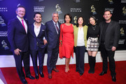 President Latin Academy of Recording Arts & Sciences Gabriel Abaroa, Christian Nodal, Deputy Los Angeles Council Albert Lord, Giselle Fernandez, First District Supervisor Hilda Solis, Angela Aguilar and President of The GRAMMY Museum Michael Sticka attend Latin Music Gallery Ribbon Cutting at the GRAMMY Museum on November 18, 2019 in Los Angeles, California.