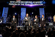 Honorees Alex Gonzalez, Fher Olvera, Sergio Vallin, and Juan Calleros of Mana arrive onstage at the Latin Recording Academy's 2018 Person of the Year gala honoring Mana at the Mandalay Bay Events Center on November 14, 2018 in Las Vegas, Nevada.