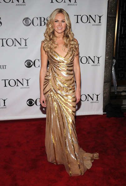 64th Annual Tony Awards - Arrivals [red carpet,clothing,shoulder,dress,carpet,fashion model,gown,lady,hairstyle,fashion,arrivals,laura bell bundy,tony awards,new york city,radio city music hall,64th annual tony awards]