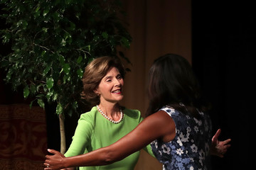 Laura Bush Michelle Obama and Former First Lady Laura Bush Speak on the Tradition of the First Lady Supporting U.S. Troops and Veterans