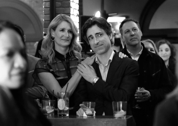 Ted's 2020 Oscar Nominee Toast [monochrome,snapshot,black-and-white,fun,event,photography,monochrome photography,drink,pub,bar,ted,oscar,laura dern,noah baumbach,craig,nominee toast,west hollywood,california,noah baumbach,laura dern,stock photography,photograph,image,getty images,photography,black and white,royalty-free]