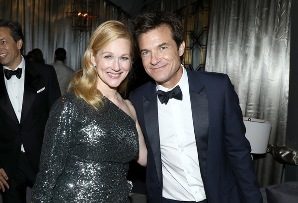 Netflix Emmy Party [suit,formal wear,event,fashion,tuxedo,fun,smile,outerwear,dress,black-and-white,laura linney,jason bateman,emmy party,l-r,primetime emmy awards,california,los angeles,netflix,milk studios,party]