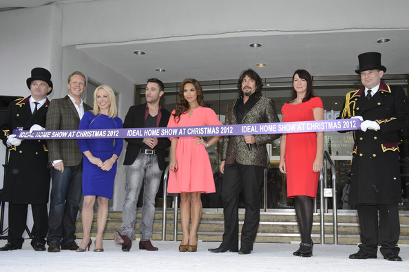 Ideal Home Show At Christmas - Launch Photocall [event,team,ribbon,uniform,ceremony,fashion accessory,tourism,official,photocall,l-r,ideal home show,opening,olly smith,myleene klass,laurence llewelyn-bowen,gino dacampo,jayne torvill,suzi perry]