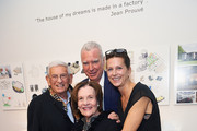 (L-R) Eli Broad, Patrick Seguin, Laurence Seguin and Edythe Broad (front) attend a private gallery view before Laurence & Patrick Seguin host an intimate dinner in celebration of the opening of their London gallery, at The Ballroom of Claridge's on October 11, 2015 in London, England.