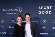 Laureus Academy Member Missy Franklin (L) and guest arrive during the Laureus Academy Welcome Reception on February 17, 2019 in Monaco, Monaco.
