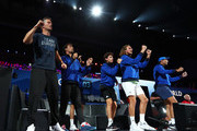 Team Europe celebrate during the singles match between John Isner of Team World and Alexander Zverev of Team Europe on Day Two of the Laver Cup 2019 at Palexpo on September 21, 2019 in Geneva, Switzerland. The Laver Cup will see six players from the rest of the World competing against their counterparts from Europe. Team World is captained by John McEnroe and Team Europe is captained by Bjorn Borg. The tournament runs from September 20-22.