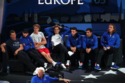 Roger Federer of Team Europe and teammates react as they watch the singles match between Milos Raonic of Team World and Rafael Nadal of Team Europe during Day Two of the Laver Cup 2019 at Palexpo on September 21, 2019 in Geneva, Switzerland. The Laver Cup will see six players from the rest of the World competing against their counterparts from Europe. Team World is captained by John McEnroe and Team Europe is captained by Bjorn Borg. The tournament runs from September 20-22.