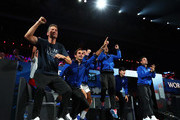 Team Europe celebrate during Day Two of the Laver Cup 2019 at Palexpo on September 21, 2019 in Geneva, Switzerland. The Laver Cup will see six players from the rest of the World competing against their counterparts from Europe. Team World is captained by John McEnroe and Team Europe is captained by Bjorn Borg. The tournament runs from September 20-22.