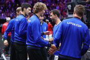 Team Europe Grigor Dimitrov of of Bulgaria celebrates with his teammates after defeating Team World Frances Tiafoe of the United States in their Men's Singles match on day one of the 2018 Laver Cup at the United Center on September 21, 2018 in Chicago, Illinois.