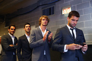 L-R  Roger Federer,Novak Djokovic,Alexander Zverev and Grigor Dimitrov of Team Europe wait backstage to be unveiled at the official welcome ceremony prior to the Laver Cup at the United Center on September 19, 2018 in Chicago, Illinois.The Laver Cup consists of six players from the rest of the World competing against their counterparts from Europe.John McEnroe will captain the Rest of the World team and Europe will be captained by Bjorn Borg. The event runs from 21-23 Sept.