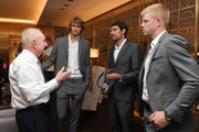Rod Laver speaks with Team Europe members Alexander Zverev, Jeremy Chardy and Kyle Edmund prior to the Team Ceremony on September 19, 2018 in Chicago, Illinois. The Laver Cup consists of six players from the Rest of the World competing against their counterparts from Team Europe.  John McEnroe will captain the Rest of the World Team and Team Europe will be captained by Bjorn Borg.  The event runs from Sept.21-23.