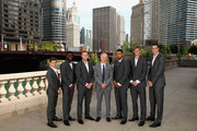 L-R Team Rest of the World Diego Schwartzman,Frances Tiafoe,Jack Sock,team captain John McEnroe,Nick Kyrgios,Kevin Anderson and John Isner pose for their official team photo shoot prior to the Laver Cup at the United Center on September 19, 2018 in Chicago, Illinois.The Laver Cup consists of six players from the rest of the World competing against their counterparts from Europe.John McEnroe will captain the Rest of the World team and Europe will be captained by Bjorn Borg. The event runs from 21-23 Sept.