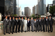 L-R Team Europe and Team Rest of the World Alexander Zverev,Kyle Edmund,Grigor Dimitrov,David Goffin, Novak Djokovic,Roger Federer, team captain Bjorn Borg Rod Laver,Rest of the World team captain John McEnroe Diego Schwartzman,Frances Tiafoe,Jack Sock,,Nick Kyrgios,Kevin Anderson and John Isner   pose for their official team photo shoot prior to the Laver Cup at the United Center on September 19, 2018 in Chicago, Illinois.The Laver Cup consists of six players from the rest of the World competing against their counterparts from Europe.John McEnroe will captain the Rest of the World team and Europe will be captained by Bjorn Borg. The event runs from 21-23 Sept.