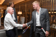 Rod Laver speaks with Team Europe member Kyle Edmund prior to the Team Ceremony on September 19, 2018 in Chicago, Illinois. The Laver Cup consists of six players from the Rest of the World competing against their counterparts from Team Europe.  John McEnroe will captain the Rest of the World Team and Team Europe will be captained by Bjorn Borg.  The event runs from Sept.21-23.