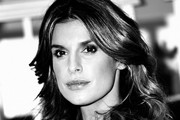 This image has been converted to black and white) Elisabetta Canalis attends 'Le Spose Di Costantino' press conference on December 19, 2017 in Milan, Italy.
