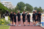 SKY Procycling riders (l to r) Kanstanstin Siutsou, Peter Kennaugh, race leader Chris Froome, Edvald Boasson-Hagen, Richie Porte, Ian Stannard and David Lopez walk to their team press conference at the Hermitage Hotel during the first rest day of the 2013 Tour de France, on July 8, 2013 in La Baule-Escoublac, France.