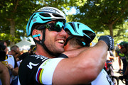 (L-R) Stage winner Mark Cavendish of Great Britain and Etixx-Quick Step is congrtulated by teammate Mark Renshaw of Australia and Etixx-Quick Step following stage seven of the 2015 Tour de France, a 190.5km stage between Livarot and Fougeres on July 10, 2015 in Fougeres, France.