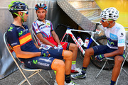 Nairo Alexander Quintana Rojas (R) of Colombia and Movistar Team speaks with Alejandro Valverde Belmonte (L) of Spain and Movistar Team and Joaquin Rodriguez Oliver of Spain and Team Katusha before the start of stage twelve of the 2015 Tour de France, a 195 km stage between Lannemezan and Plateau de Beille, on July 16, 2015 in Lannemezan, France.