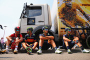 (L-R) Samuel Sanchez of Spain and BMC Racing Team, Alejandro Valverde Belmonte of Spain and Movistar Team, Adrian Malori of Italy and Movistar Team and Gorka Izagirre Insausti of Spain and Movistar Team rest prior to the start of stage two of the 2015 Tour de France, a 166km stage between Utrecht and Zelande, on July 5, 2015 in Utrecht, Netherlands.