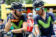 Jesus Herrada of Spain and Team mates, Nairo Quintana of Columbia and Team Movistar speak during stage eight of the 2017 Le Tour de France, a 187.5km road stage from Dole to Station Des Rousses on July 8, 2017 in Dole, France.