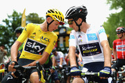 Chris Froom of Great Britain and Team Sky and Simon Yates of Great Britain and Team Orica-Scott speak during stage eight of the 2017 Le Tour de France, a 187.5km road stage from Dole to Station Des Rousses on July 8, 2017 in Dole, France.