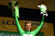 Marcel Kittel of Germany riding for Quick-Step Floors poses for a photo on the stage in the green points jersey following stage 14 of the 2017 Le Tour de France, a 181.5km stage from Blagnac to Rodez on July 15, 2017 in Rodez, France.