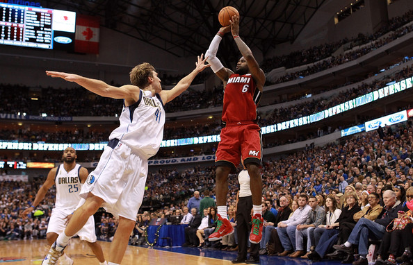 Miami Heat v Dallas Mavericks [basketball,basketball moves,sports,basketball player,sport venue,ball game,basketball court,player,product,lebron james 6,user,user,dirk nowitzki 41,v,shot,note,miami heat,dallas mavericks,game]