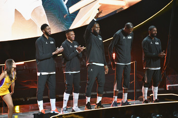 LeBron James Kevin Durant Celebrities At The 67th NBA All-Star Game: Team LeBron Vs. Team Stephen