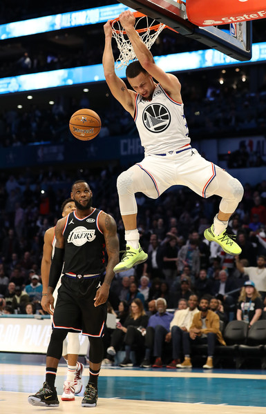 2019 NBA All-Star Game [photograph,basketball,basketball moves,sports,basketball player,slam dunk,team sport,ball game,tournament,player,team lebron,stephen curry,giannis,user,part,team,golden state warriors,nba all-star game,dunks]