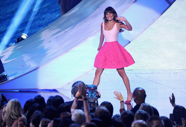 "Lea Michele Actress Lea Michele walks onstage to accept Choice TV Show: Comedy award for ""Glee"" during the Teen Choice Awards 2013 at Gibson Amphitheatre on August 11, 2013 in Universal City, California."