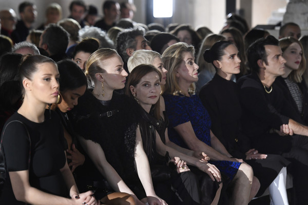 Louis Vuitton: Front Row  - Paris Fashion Week Womenswear Fall/Winter 2017/2018 [people,event,crowd,youth,fashion,audience,fun,performance,team,student,sophie turner,adele exarchopoulos,michelle williams,catherine deneuve,isabelle huppert,jennifer connelly,paris fashion week womenswear fall,front row,french,louis vuitton]