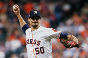 Charlie Morton #50 of the Houston Astros pitches in the first inning against the Boston Red Sox during Game Four of the American League Championship Series at Minute Maid Park on October 17, 2018 in Houston, Texas.