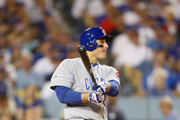 Anthony Rizzo #44 of the Chicago Cubs bats against the Los Angeles Dodgers at Dodger Stadium on October 15, 2017 in Los Angeles, California.