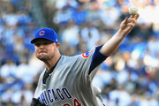 Jon Lester #34 of the Chicago Cubs pitches against the Los Angeles Dodgers in the first inning during Game Two of the National League Championship Series at Dodger Stadium on October 15, 2017 in Los Angeles, California.