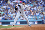Jon Lester #34 of the Chicago Cubs pitches against the Los Angeles Dodgers during Game Two of the National League Championship Series at Dodger Stadium on October 15, 2017 in Los Angeles, California.