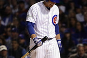 Anthony Rizzo #44 of the Chicago Cubs walks back to the dugout after striking out in the second inning against the Los Angeles Dodgers during game four of the National League Championship Series at Wrigley Field on October 18, 2017 in Chicago, Illinois.