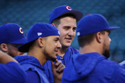 Anthony Rizzo #44 of the Chicago Cubs looks on before game three of the National League Championship Series against the Los Angeles Dodgers at Wrigley Field on October 17, 2017 in Chicago, Illinois.