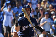 Ryan Braun #8 of the Milwaukee Brewers reacts after striking out swinging during the first inning of Game Five of the National League Championship Series against the Los Angeles Dodgers at Dodger Stadium on October 17, 2018 in Los Angeles, California.