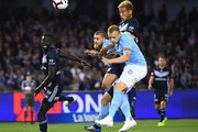 Keisuke Honda of the Victory heads the ball for a goal during the round one A-League match between Melbourne Victory and Melbourne City at Marvel Stadium on October 20, 2018 in Melbourne, Australia.
