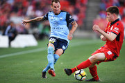 Luke Wilkshire of Sydney FC and Ryan Strain of Adelaide United  during the round 16 A-League match between Adelaide United and Sydney FC at Coopers Stadium on January 14, 2018 in Adelaide, Australia.