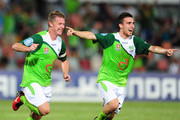Ufuk Talay (L) of the Fury celebrates his goal with Ramazan Tavsancioglu  during the round 18 A-League match between the North Queensland Fury and Sydney FC at Dairy Farmers Stadium on December 15, 2010 in Townsville, Australia.