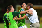 Ufuk Talay (#6) of the Fury celebrates his goal with Ramazan Tavsancioglu and coach Frantisek Straka during the round 18 A-League match between the North Queensland Fury and Sydney FC at Dairy Farmers Stadium on December 15, 2010 in Townsville, Australia.
