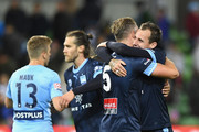 Jordy Buijs and Luke Wilkshire of Sydney FC celebrate winning the round five A-League match between Melbourne City FC and Sydney FC at AAMI Park on November 3, 2017 in Melbourne, Australia.