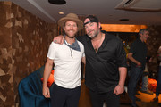 Drake White and Lee Brice are seen backstage at Analog at the Hutton Hotel on October 1, 2018 in Nashville, Tennessee.