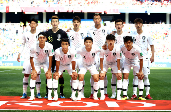 Sweden Vs. Korea Republic: Group F - 2018 FIFA World Cup Russia [team photo,team,soccer player,player,social group,football player,team sport,sport venue,championship,competition event,international rules football,russia,sweden,korea republic,nizhniy novgorod stadium,team,group,korea republic: group f - 2018 fifa world cup,match,2018 fifa world cup]