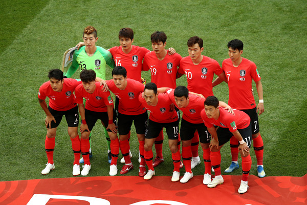 Korea Republic vs. Mexico: Group F - 2018 FIFA World Cup Russia [team,team sport,player,soccer player,football player,sport venue,sports,red,ball game,soccer,mexico: group f - 2018 fifa world cup,match,group,team,korea republic,russia,rostov-on-don,mexico,rostov arena]