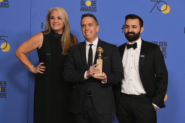75th Annual Golden Globe Awards - Press Room [best motion picture,award,event,award ceremony,suit,formal wear,tuxedo,premiere,white-collar worker,darla k. anderson,lee unkrich,adrian molina,coco,l-r,room,press room,the beverly hilton hotel,golden globe awards]