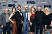 (L-R) Tom Perrotta, Carrie Coon, Justin Theroux, Damon Lindelof, Amy Brenneman, Scott Glenn and Mimi Leder attend 'The Leftovers' screening at Metrograph on June 1, 2017 in New York City.