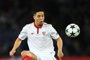 Samir Nasri of Sevilla FCL in action during the UEFA Champions League Round of 16 second leg match between Leicester City and Sevilla FC at The King Power Stadium on March 14, 2017 in Leicester, United Kingdom.
